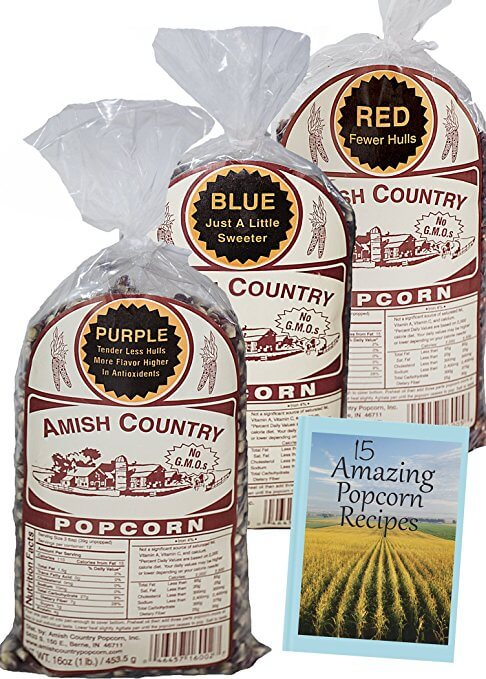 Amish Country Popcorn - 3 (1 lb. Bag Variety) Purple Popcorn, Blue Popcorn, and Red Popcorn