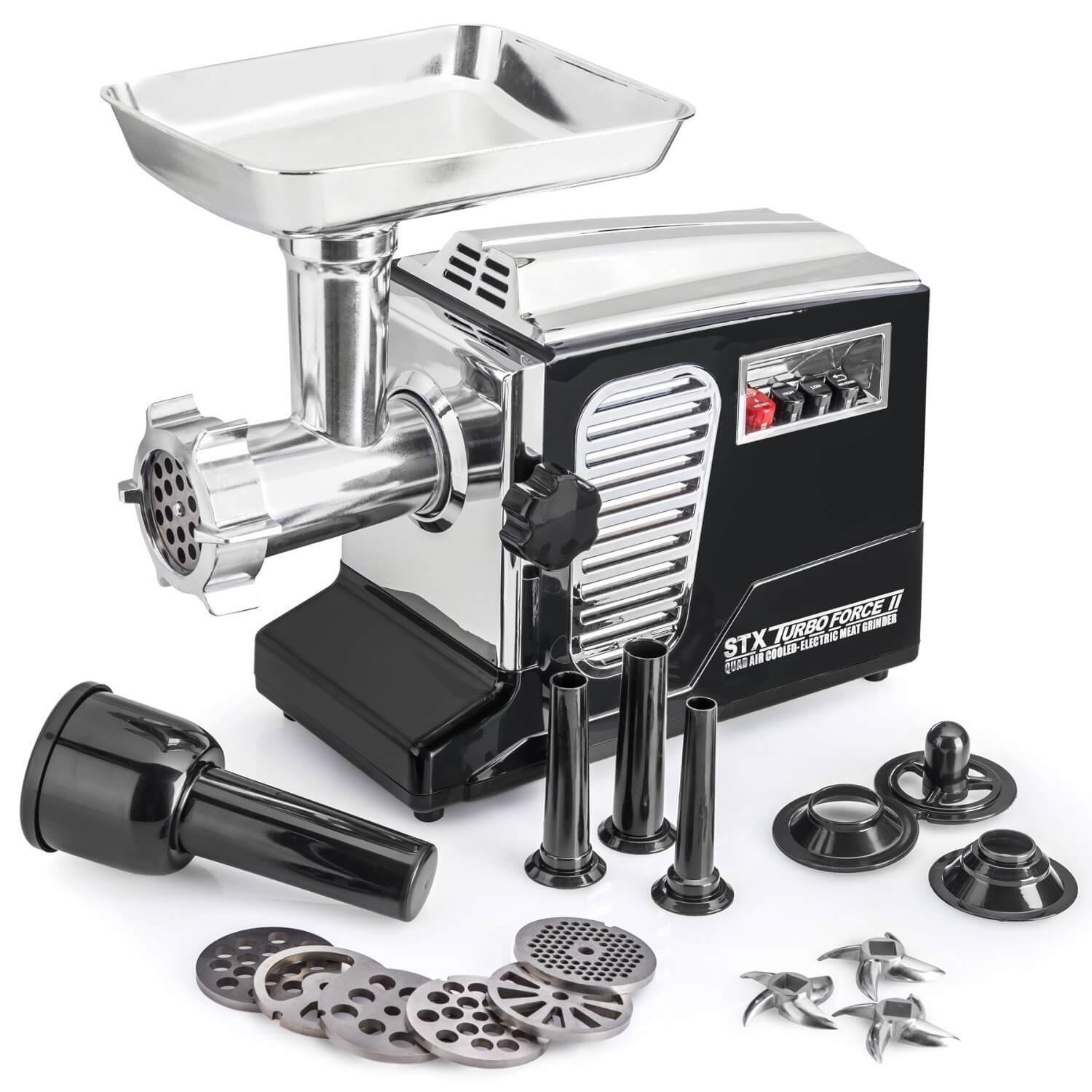 "The All New Patented Model STX-4000-TB2 Turboforce II ""Quad Air Cooled"" Black Electric Meat Grinder & Sausage Stuffer"