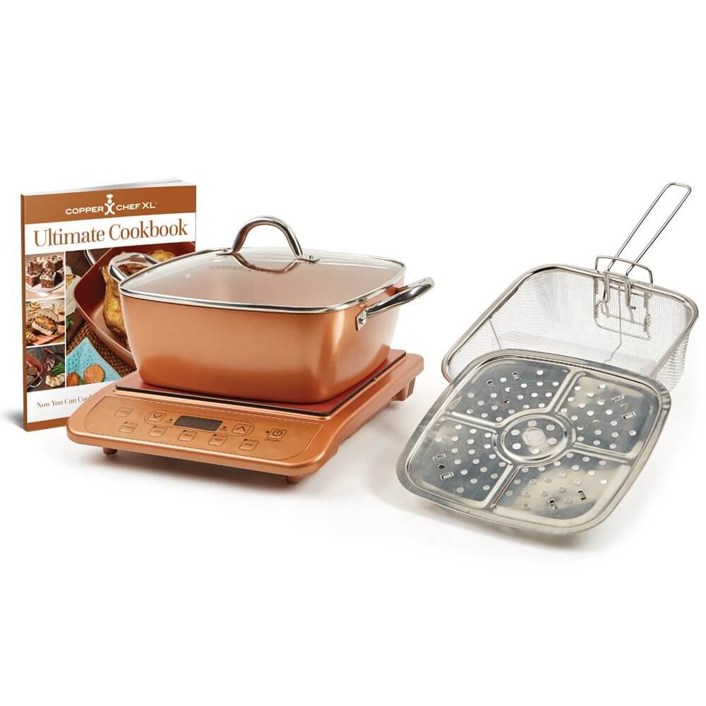 "Copper Chef XL 11"" Casserole 5 pc Set & Induction Cooktop"