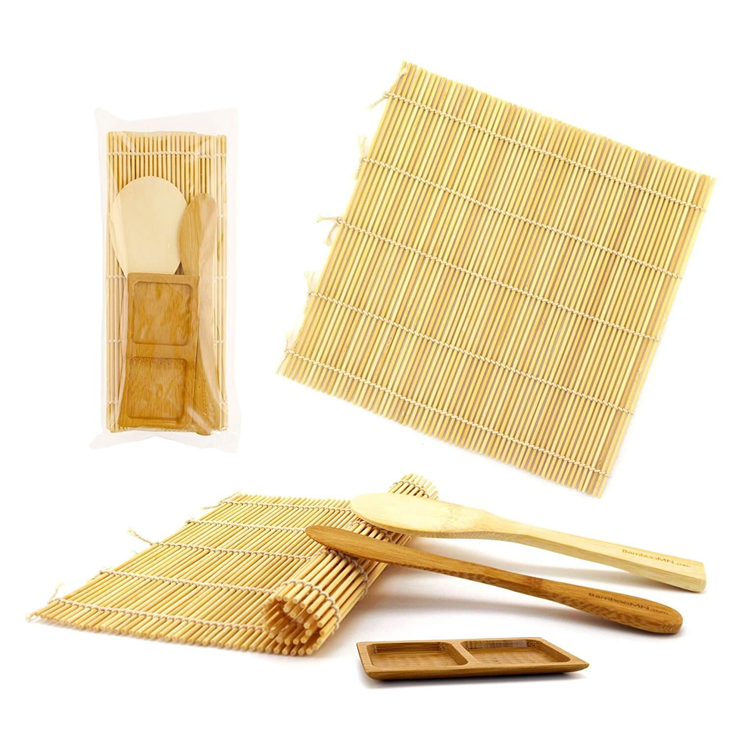BambooMN Deluxe Sushi Making Kit 2x Natural Rolling Mats