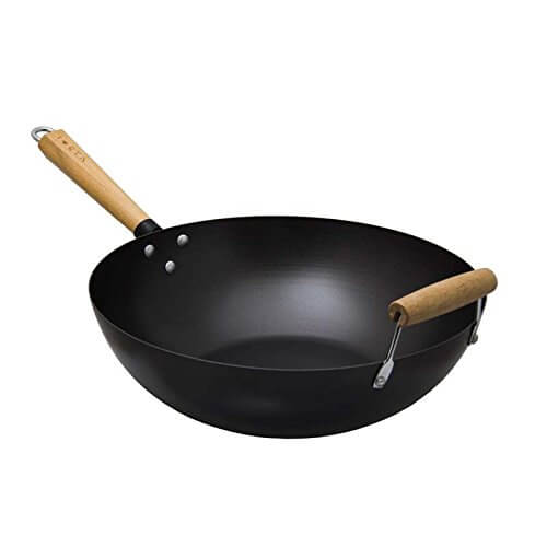 ​Traditional Oriental Chef Carbon Steel Wok with Detailed Wooden Handle & Wooden Helper Handle by Regent