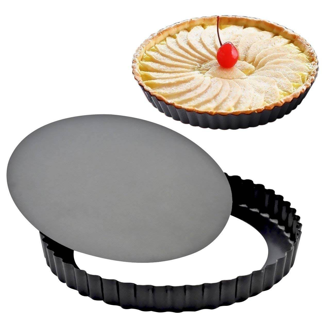 Attmu 8 Inches Non-Stick Removable Loose Bottom Quiche Tart Pan