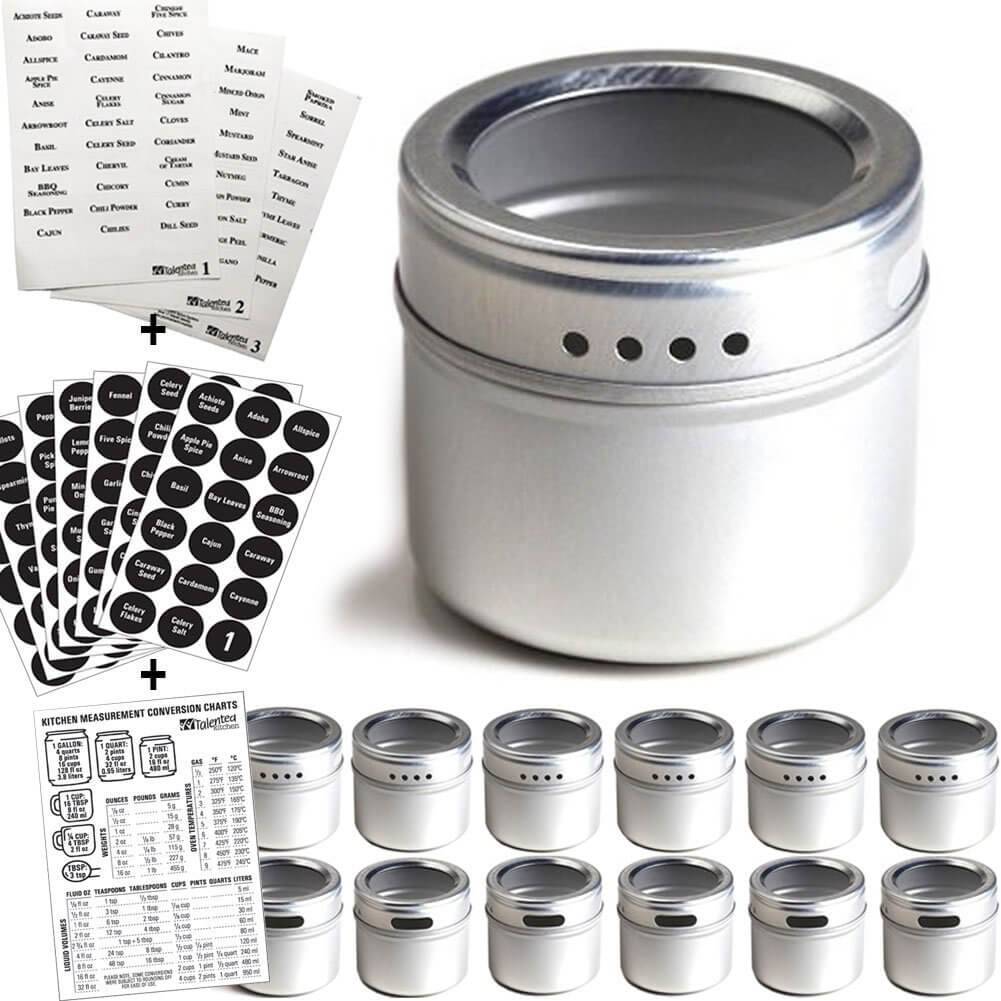 Talented Kitchen 12-pack Magnetic Spice Tin Set