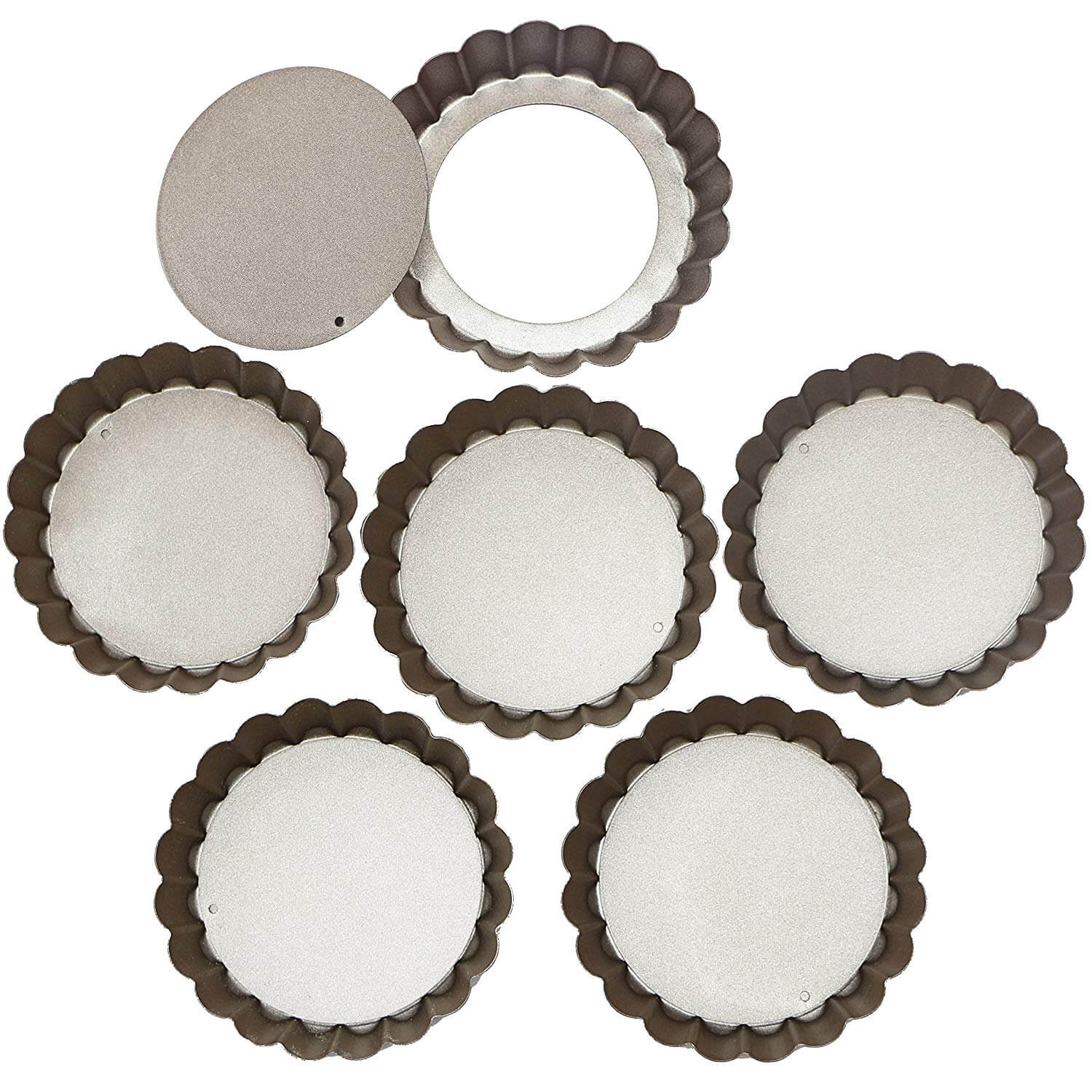 Webake 4 Inch Quiche Pans Removable Bottom Mini Tart Pans