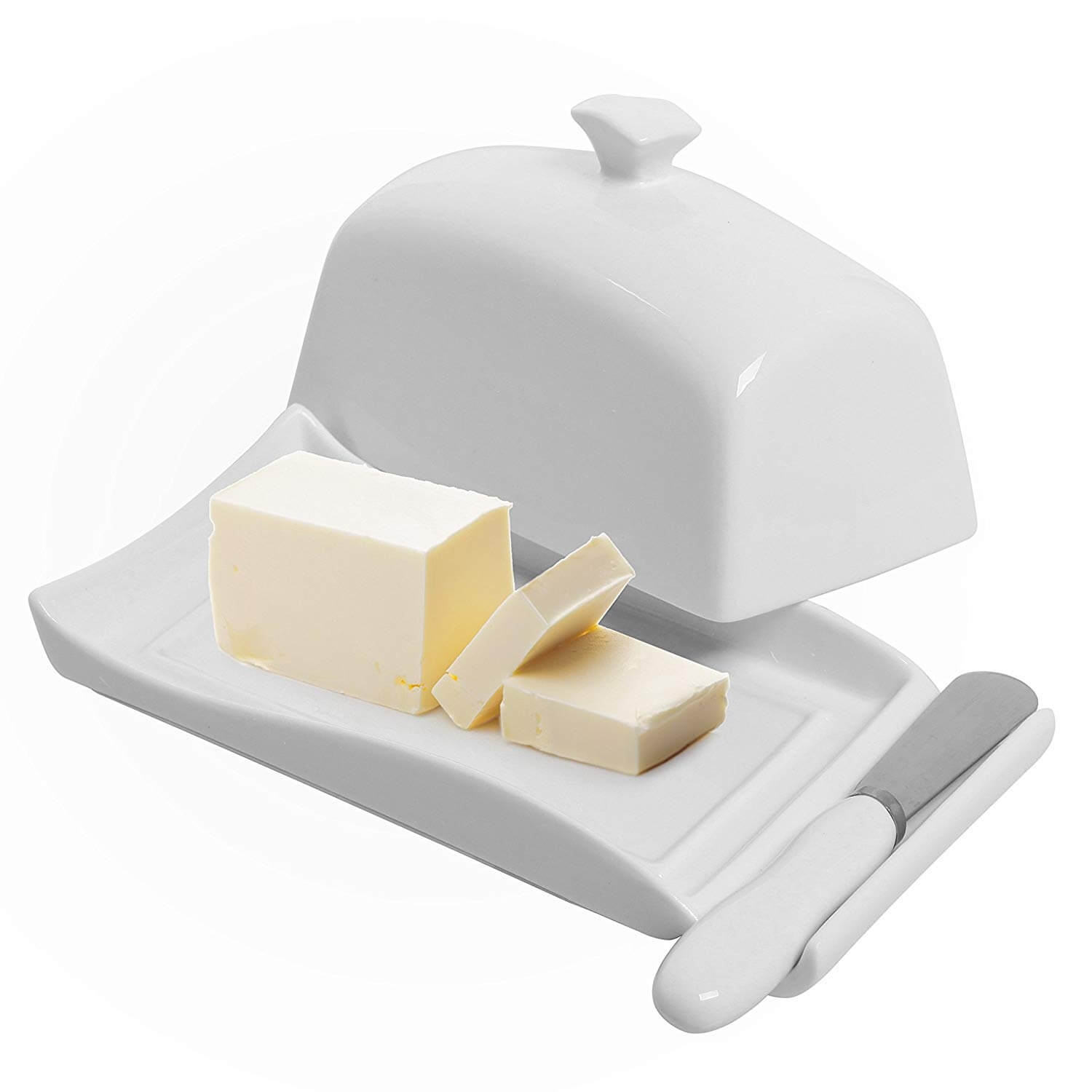 My Gift Decorative White Ceramic Lidded Butter Dish