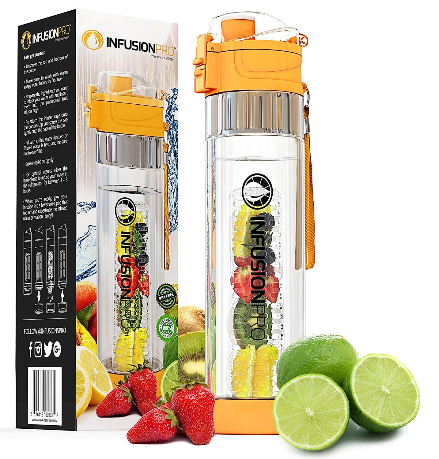 Infusion Pro Water Infuser – 24 oz Fruit Infused Water Bottle