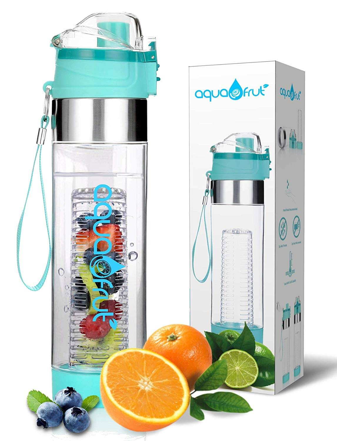 NEW Improved Unique Bottom Loading Fruit Infuser Water Bottle By Aquafrut Bottle