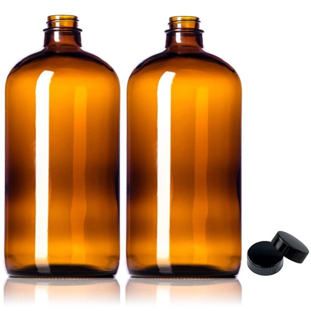 Sally's Organics Amber Glass Growlers with Polycone Lids