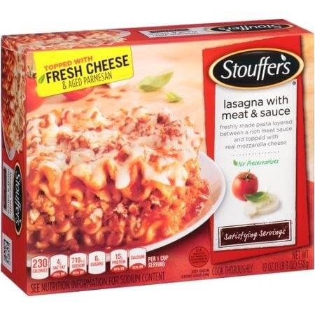 STOUFFERS LASAGNA WITH MEAT & SAUCE SATISFYING SERVINGS