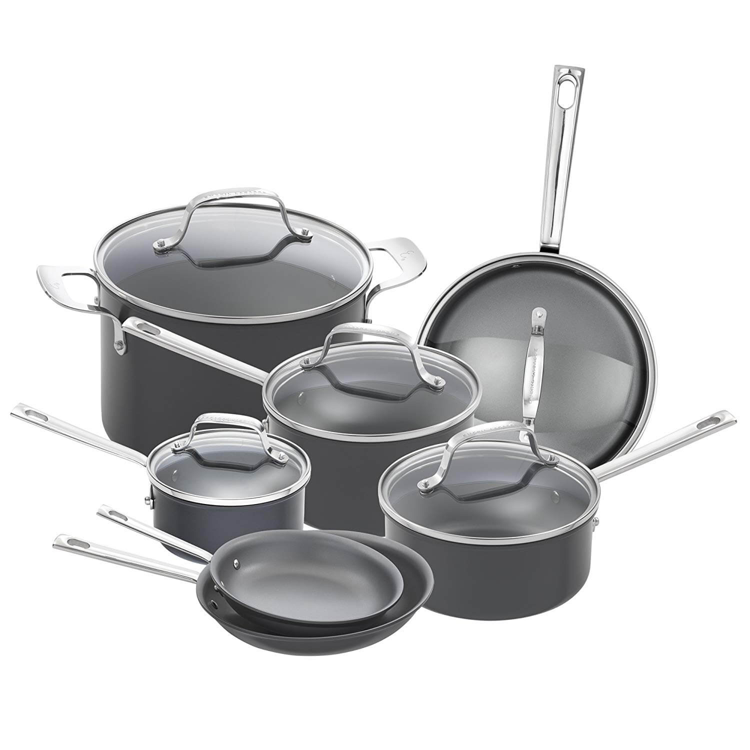 ​Emeril Lagasse Non-stick Hard Anodized Gray Cookware Set