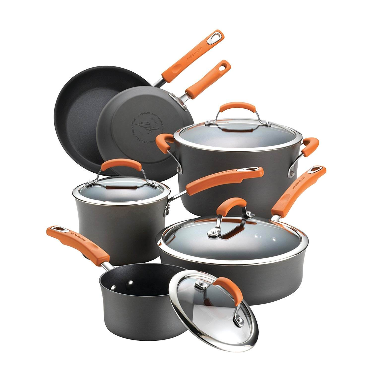 Rachael Ray Hard Anodized Non-stick 10-Piece Gray with Orange Cookware Set