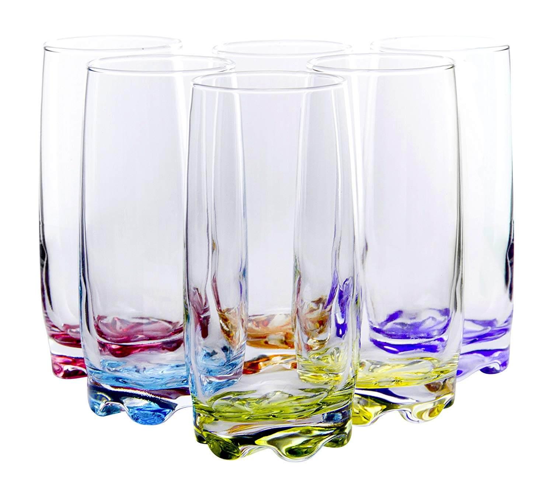 Red Co. Vibrant Splash Water Beverage Highball Glasses