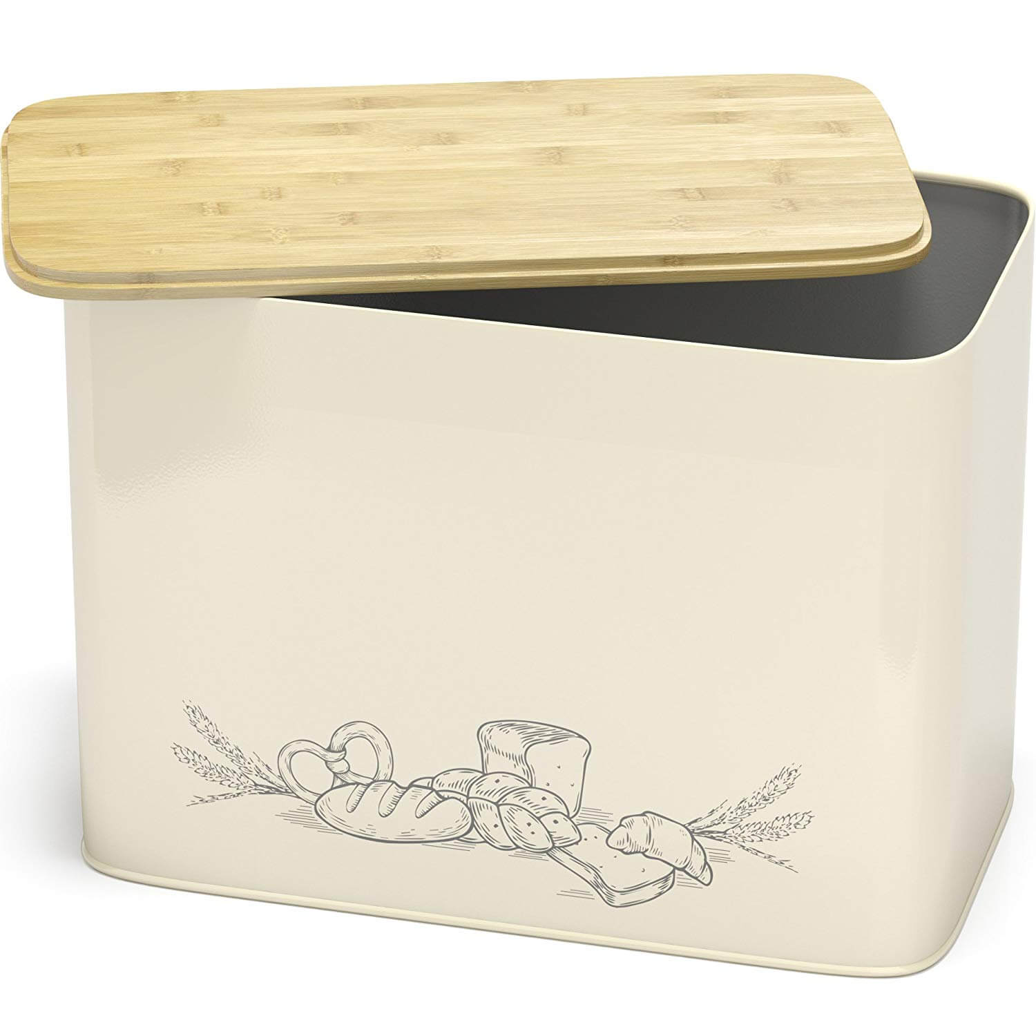 Cooler Kitchen Bread Box with Cutting Lid