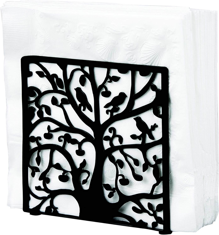 MyGift Black Metal Tree & Bird Design Tabletop Napkin Holder