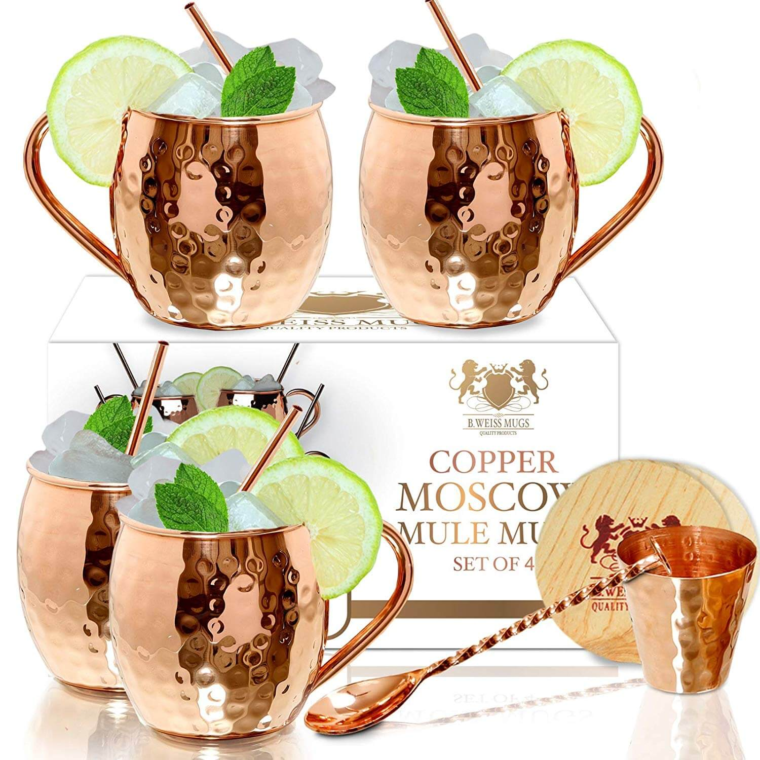 B. WEISS MUGS Moscow Mule Copper Mugs