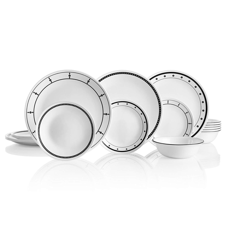 Corelle 18 Piece Black & White Dinnerware Set