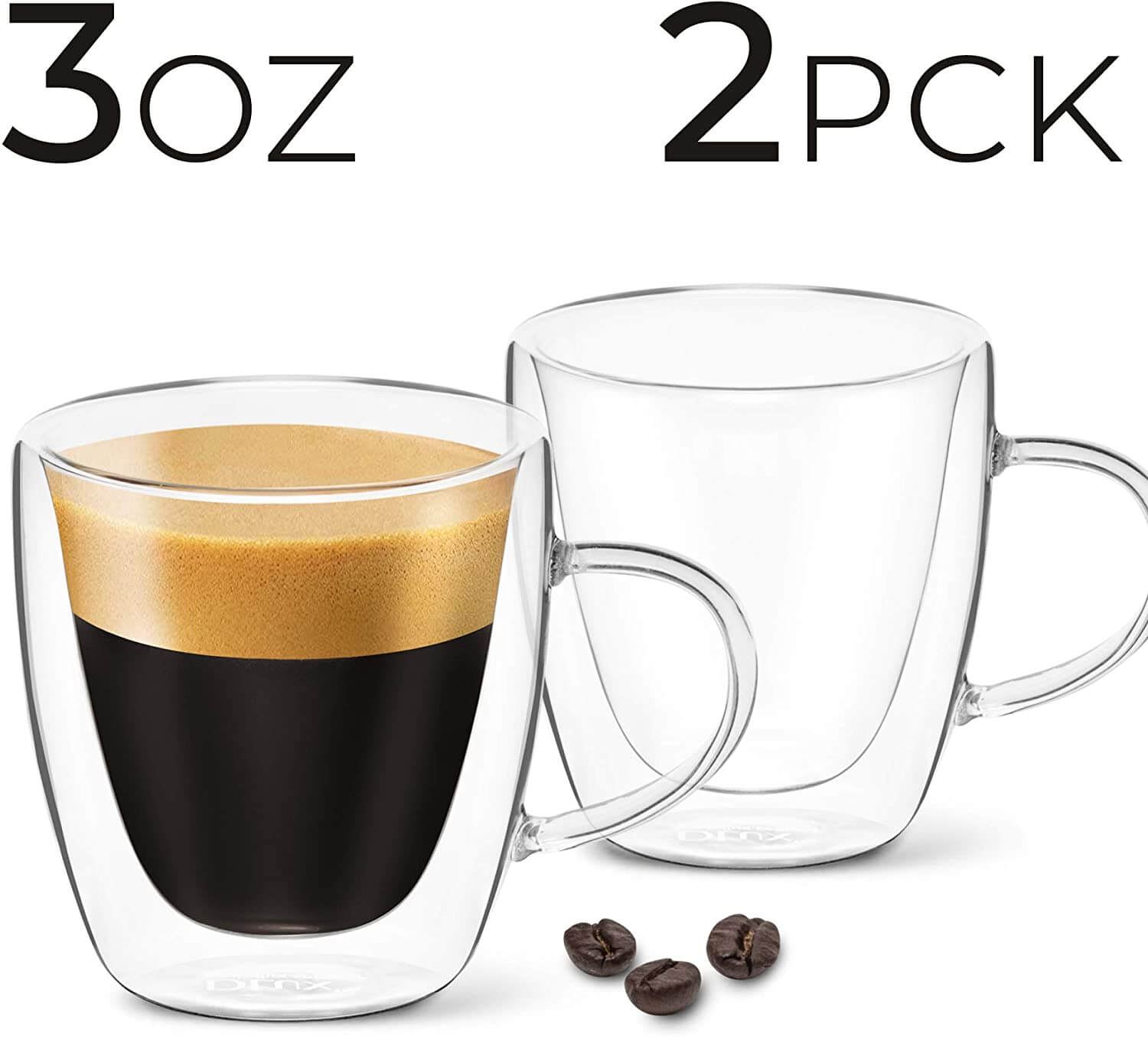 DLux Double-Wall Clear Glass Espresso Cups