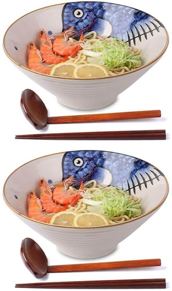 NJCharms Ceramic Japanese Ramen Noodle Soup Bowl Set
