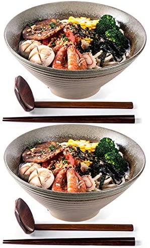 NJCharms Large Ceramic Ramen Soup Bowls