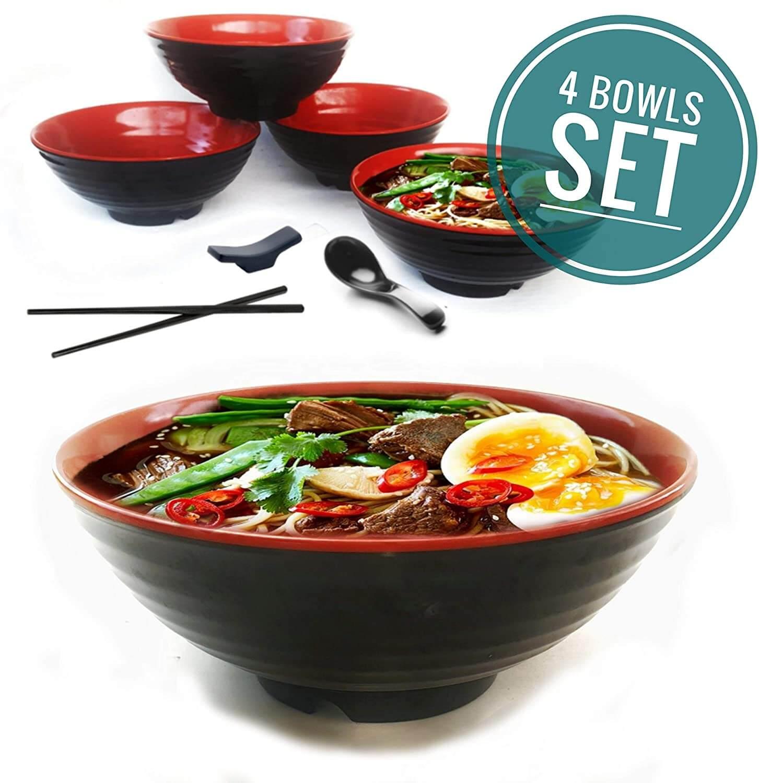 Vallenwood Melamine Large Ramen Bowls Set