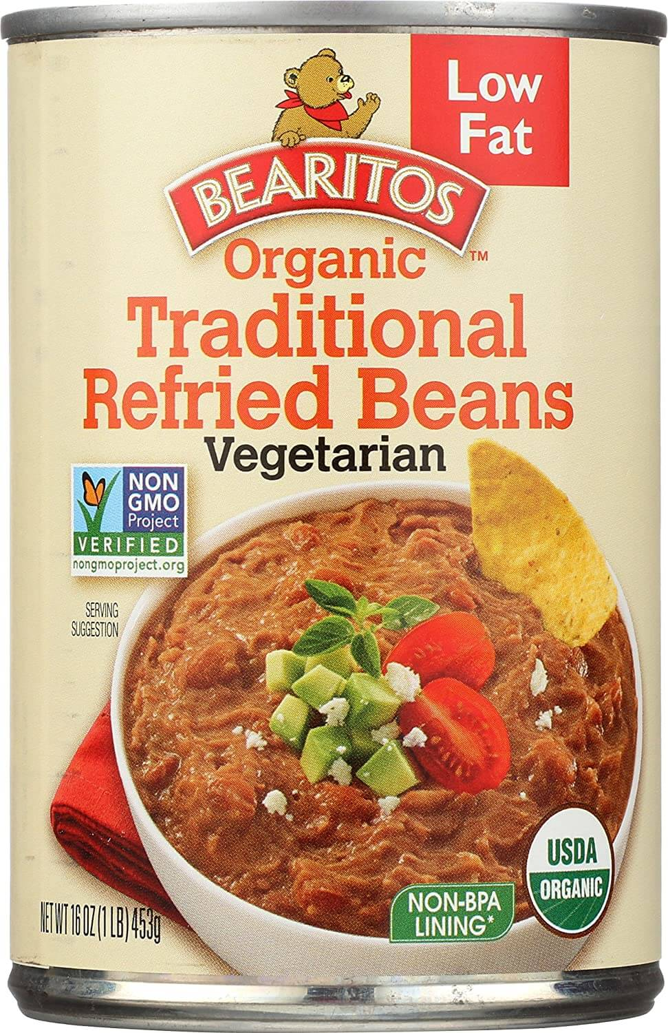 Bearitos Organic Low-Fat Traditional Refried Beans