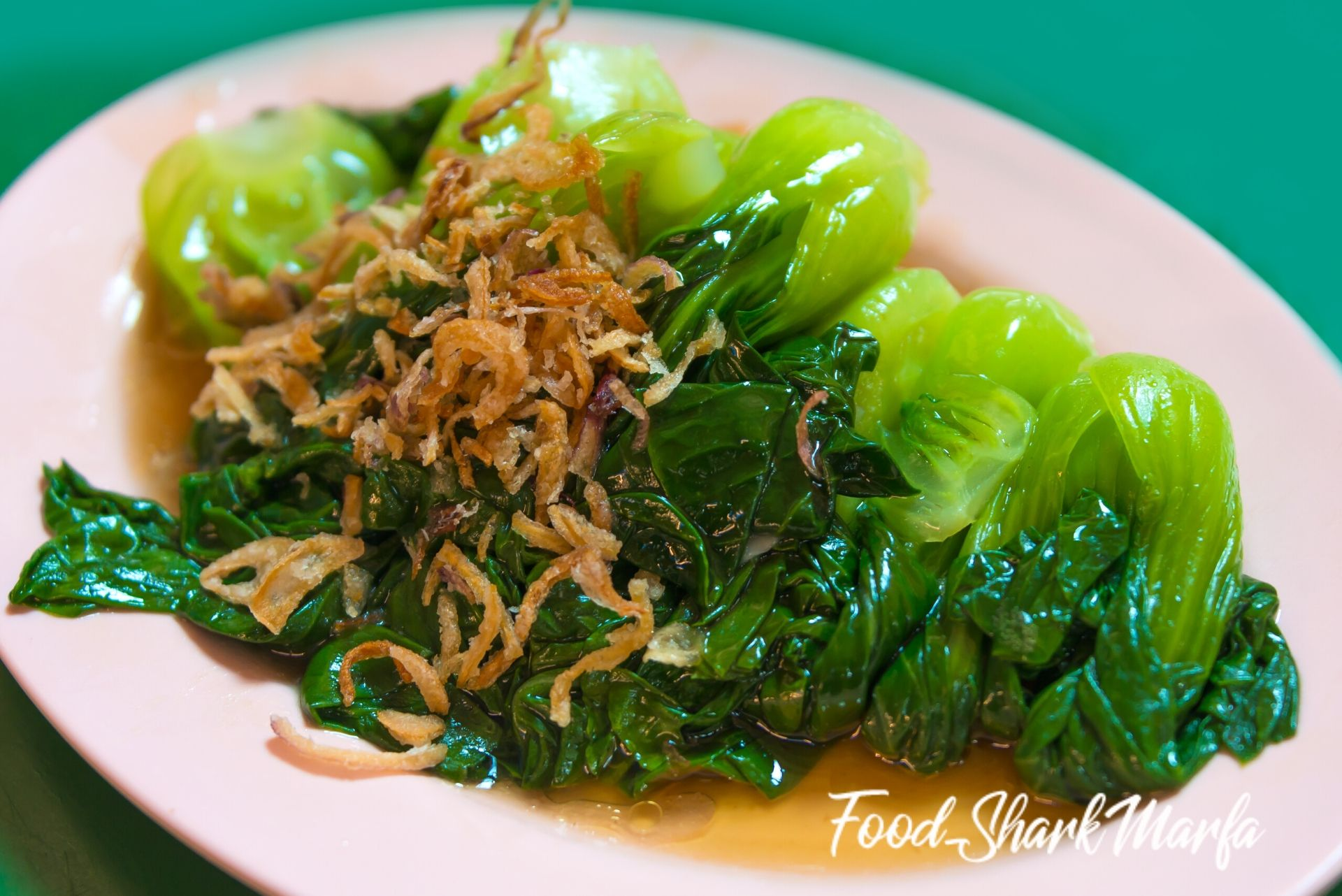 Fried vegetable in oil oyster sauce