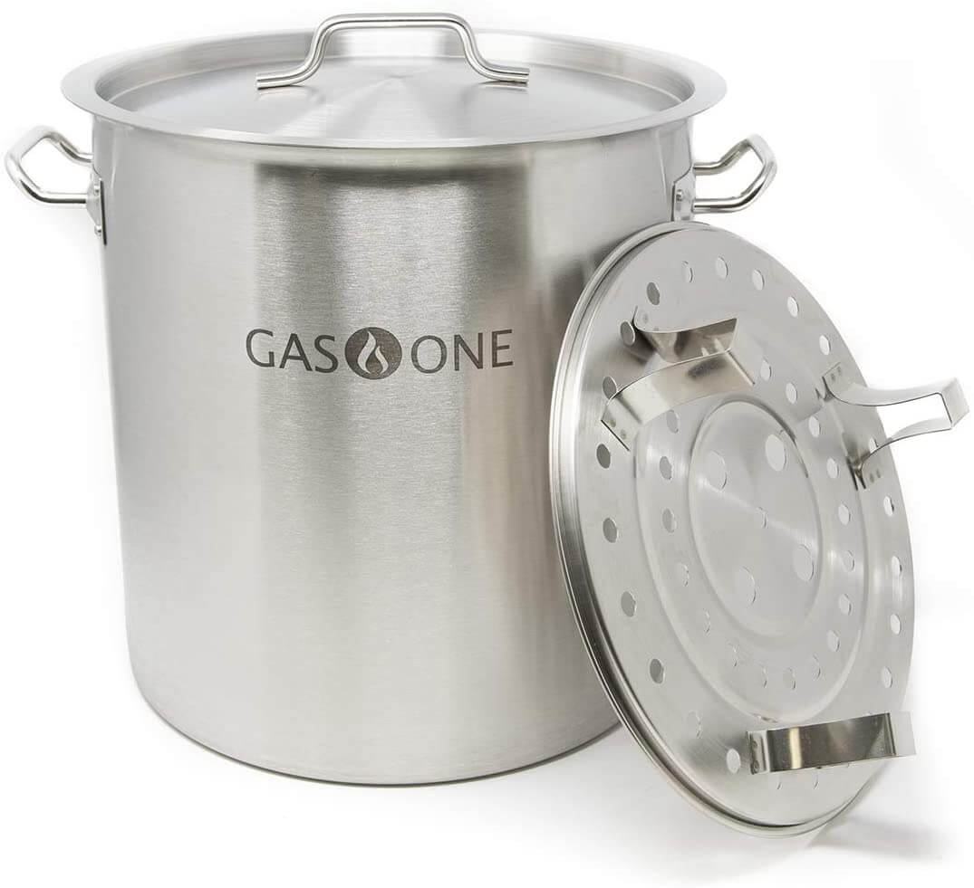 GasOne ST-32 Stainless Steel Stock with lid cover & Steamer Rack