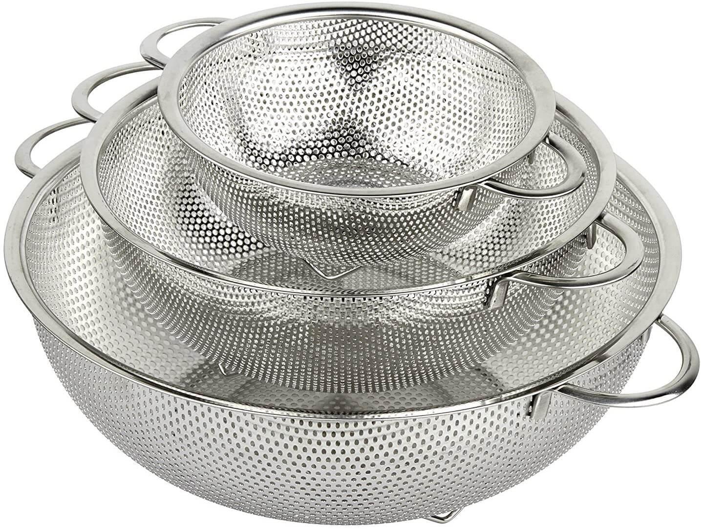 HÖLM 3-Piece Stainless Steel Mesh Micro-Perforated Strainer Colander Set