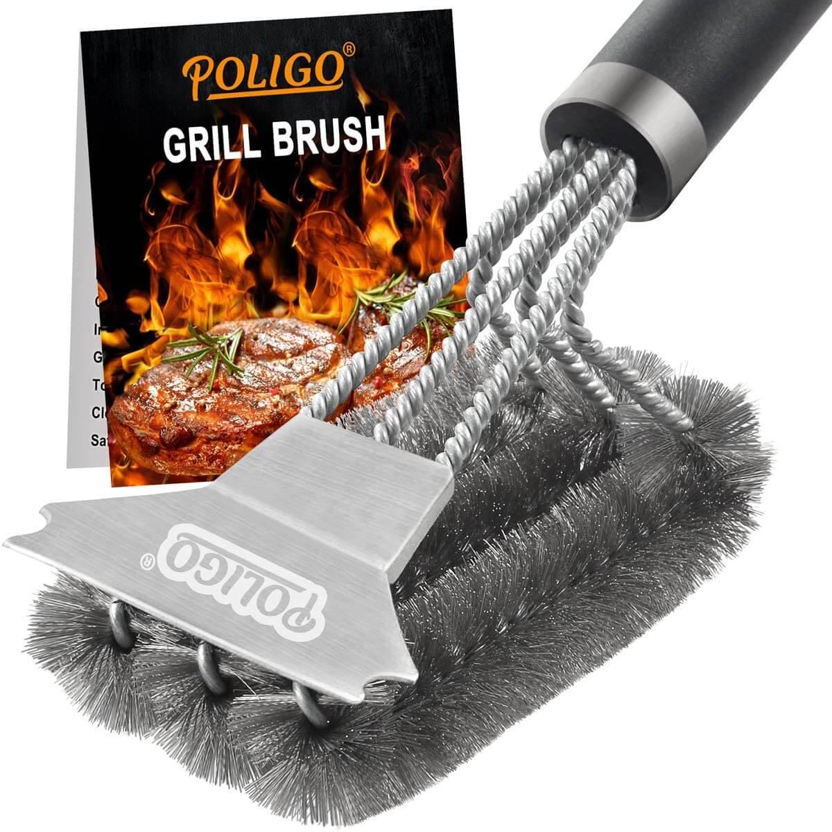 POLIGO Grill Brush and Scraper with Deluxe Handle