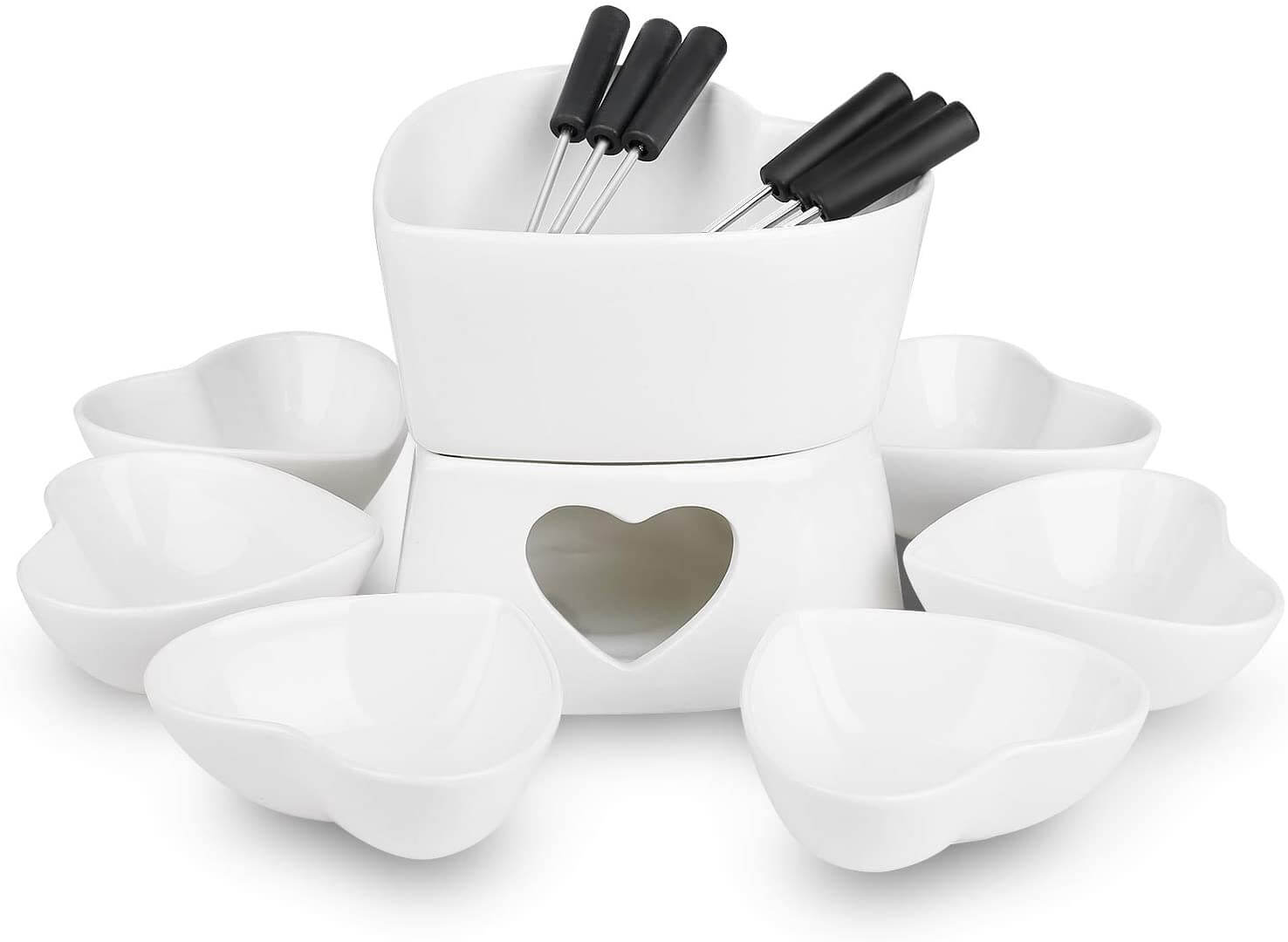 Zen Kitchen Fondue Pot Set, Glazed Ceramic Fondue Set
