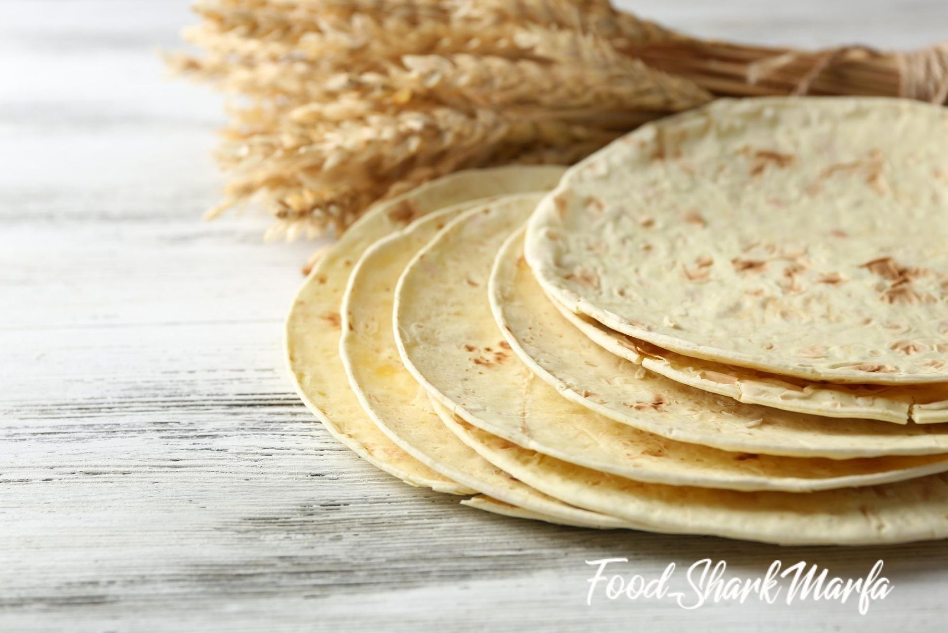 Stack of homemade whole wheat flour tortilla