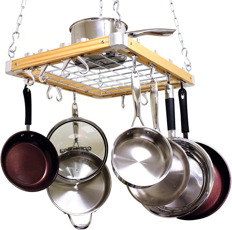 Cooks Standard Ceiling Mounted Wooden Pot Rack