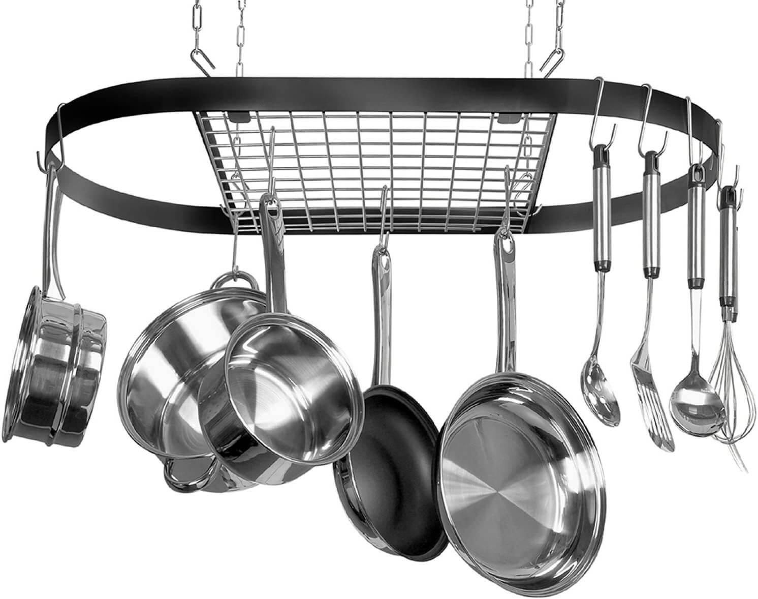 Kinetic Pot Rack, Black with Silver Rack
