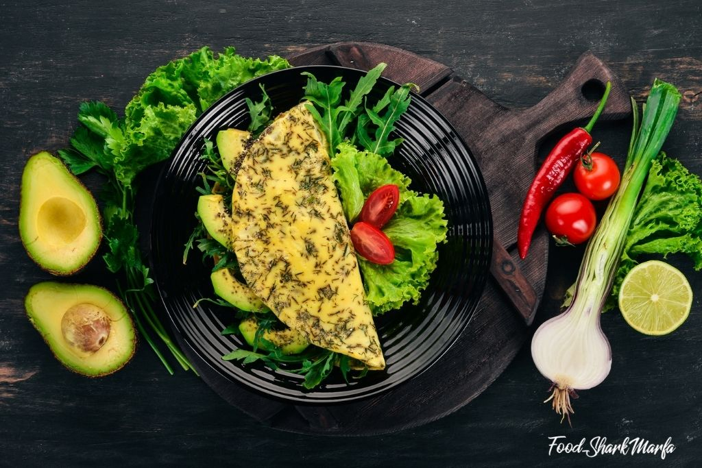 Omelet with vegetables and avocados